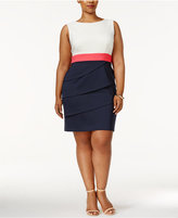 Connected Plus Size Colorblock Tiered Sheath