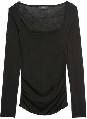 Theory Open-Neck Shirred Sweater