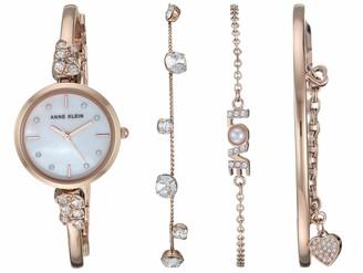 Anne Klein Women's Swarovski Crystal Accented Rose Gold-Tone Bangle Watch and Bracelet Set AK/3430RGST