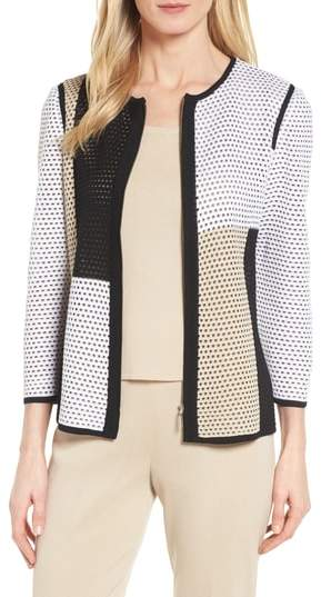 Ming Wang Colorblock Netted Knit Jacket