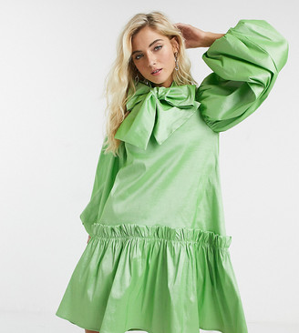 Sister Jane oversized mini smock dress with volume sleeves and bow in luxe satin