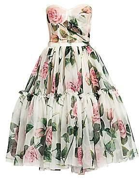 Dolce & Gabbana Women's Strapless Rose-Print Silk Organza Dress