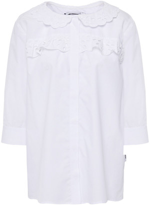 Love Moschino Broderie Anglaise-trimmed Cotton-blend Poplin Shirt