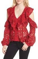 Bardot Women's Valentina Cold Shoulder Lace Blouse