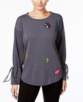 NY Collection Bell-Sleeve Patch Blouse
