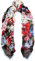 Dolce & Gabbana Fringed Floral-print Cashmere And Silk-blend Scarf - Ivory