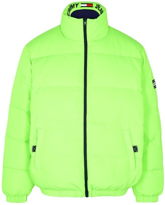 Tommy Jeans Neon green reversible quilted shell jacket