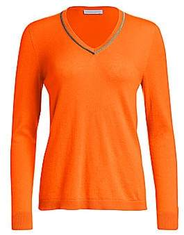 Fabiana Filippi Women's Two-Tone Brilliant-Trim Cashmere Knit Sweater