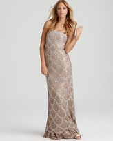 Basix Strapless Scalloped Sequin Gown