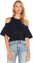 Autumn Cashmere Crop Cold Shoulder Top in Navy. - size XS (also in )