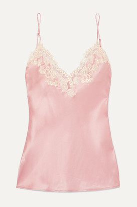 La Perla Maison Embroidered Lace-trimmed Silk-blend Satin Camisole - Pink