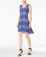 NY Collection Petite Printed High-Low Fit & Flare Dress