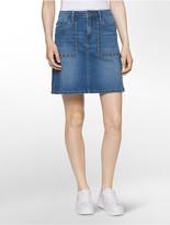 Calvin Klein Denim Studded A-Line Mini Skirt