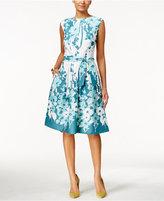 Nine West Boat-Neck Floral-Print Fit & Flare Dress