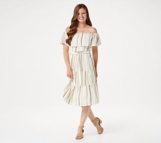 Isaac Mizrahi Live! Convertible Tiered Striped Woven Dress