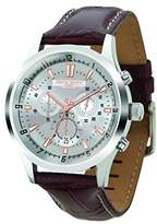Jorg Gray Men's Quartz Watch with Silver Dial Chronograph Display and Brown Leather Strap JG6800-22