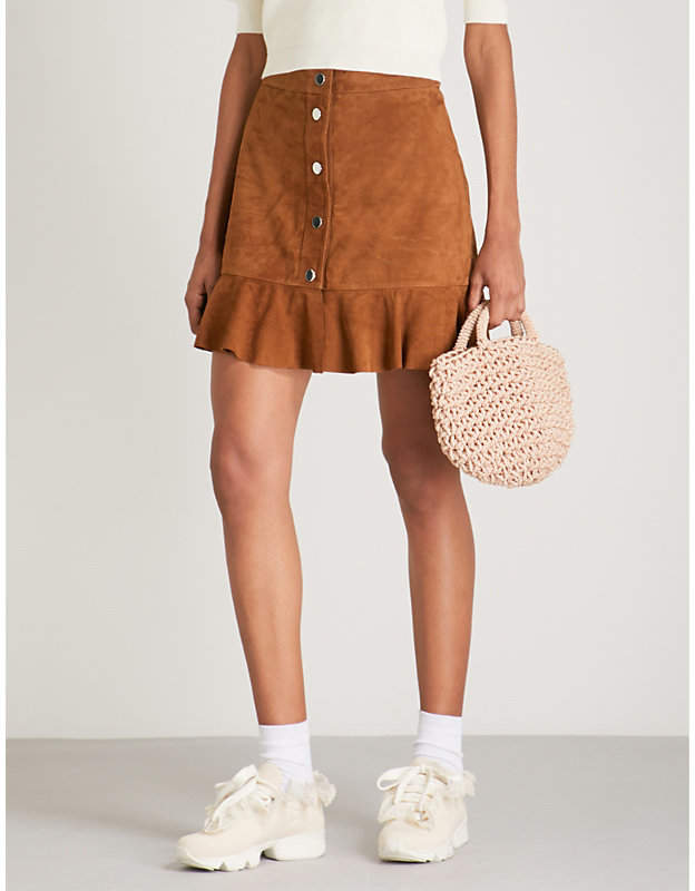Ganni Salvia suede mini skirt
