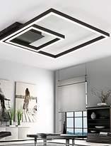 qiuxi High-end fashion Interior Ceiling lamp Remoter Dimming Led Ceiling Light 70Watt Flush Mount Aluminium Black Painting for Living room Foyer