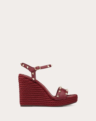 Valentino Wedge Sandal With Stud Details 115 Mm Women Cherry 40