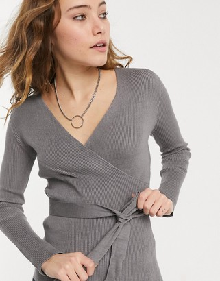 New Look co-ord wrap top in mid grey