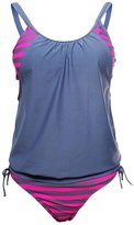 Pink Queen Women's Push Up Pad Double Up Tankini Two Pieces Swimsuit Set L