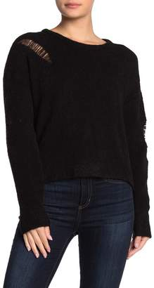 LnA Wool Blend Distressed Sweater