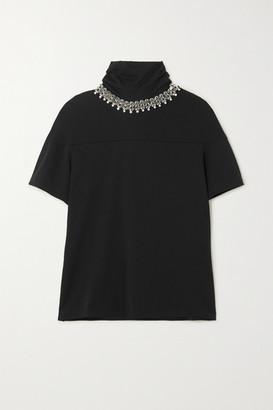 Christopher Kane Embellished Cotton-jersey T-shirt - Black
