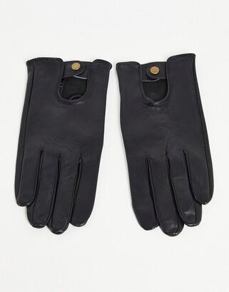 Asos Design DESIGN leather driving gloves in black
