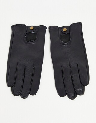ASOS DESIGN leather driving gloves in black