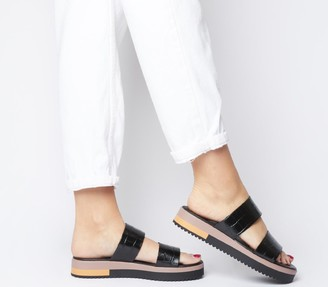 Office Stadium Double Strap Wedged Sandals Black Croc Leather