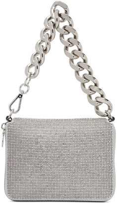 Kara Silver Large Crystal Bike Wristlet Clutch