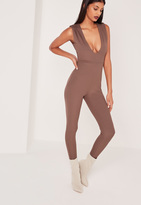 Missguided Ribbed Sleeveless Ruched Shoulder Romper Brown