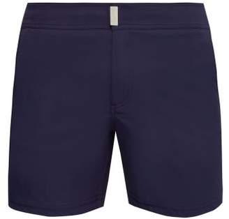 Vilebrequin Minise Tonal Houndstooth Checked Swim Shorts - Mens - Navy