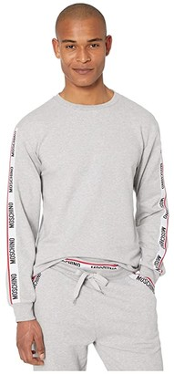 Moschino Basic Fleece Sweatshirt (Grey Melange) Men's Clothing