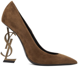 Saint Laurent Brown Suede Opyum 110 Heels