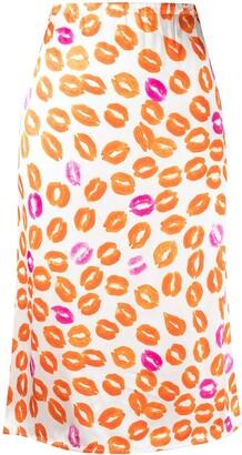 Marni Lips Print Midi Skirt
