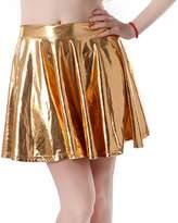 HDE Women's Shiny Liquid Metallic Wet Look Fla Pleated Skater Skirt