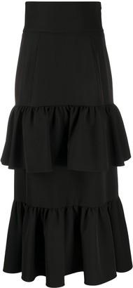 Sara Battaglia Tiered Ruffle Maxi Skirt