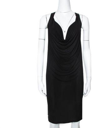 McQ Black Jersey Cowl Neck Dress S