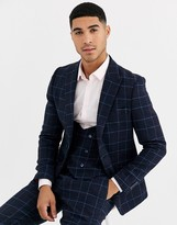 Gianni Feraud Slim Fit Wool Blend Blue Red Check Suit Jacket-Navy