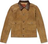 Rrl - Leather-trimmed Suede Jacket