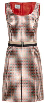 Akris Punto Contrast Belted Houndstooth Dress