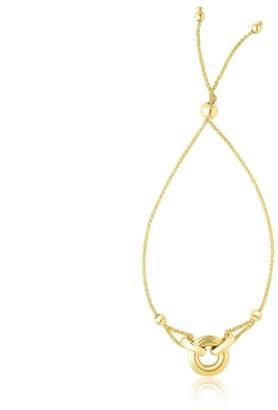 Overstock 14k Yellow Gold Interlaced Ring Adjustable Design Lariat Bracelet