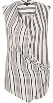 River Island Womens Black stripe wrap front sleeveless blouse