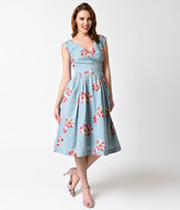 Emily And Fin 1940s Style Dusty Blue & Floating Daisies Cotton Florence Swing Dress
