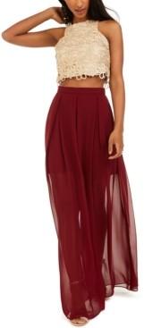B. Darlin Juniors' Halter Top & Chiffon Skirt