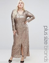 Club L Plus Sequin Maxi Dress With Plunge Neck