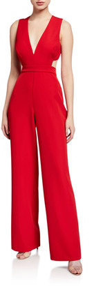Aidan Mattox Plunge-Neck Sleeveless Crepe Jumpsuit with Cutouts