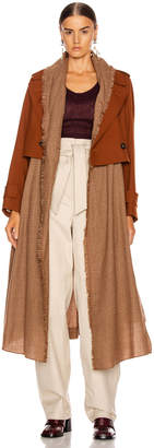 Chloé Two Tone Long Jacket in Wildwood Brown | FWRD