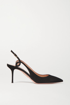 Aquazzura Serpentine 75 Suede Slingback Pumps - Black
